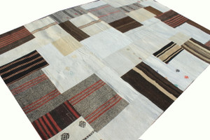 Undyed Natural vintage kilims artfully assembled into a square patch work kilim.  The back is fully lined.  Great combination of neutral tones so easy to fit into any interior.