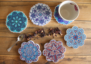 Beautiful Turkish Ceramic Decor Coasters.