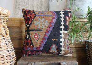 Handwoven Antique Kilim cover - (40*40cm) #2191