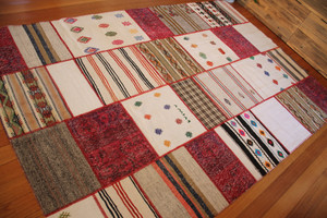 Colour Pops Natural Patchwork Kilim (#M181) 200*300cm