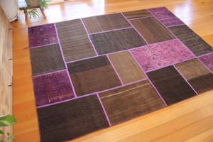 Purple & Natural Patchwork Kilim (#M184) 178*237cm