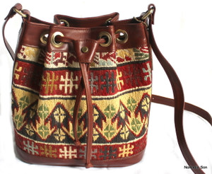 Soumak kilim and leather shoulder bag