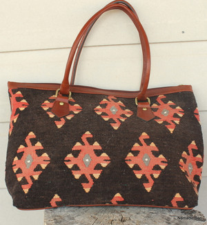 Vintage kilim and leather Handbag 'Scorpion'