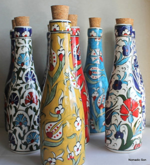 Handmade and hand painted ceramic Olive Oil bottle. Made in Turkey.