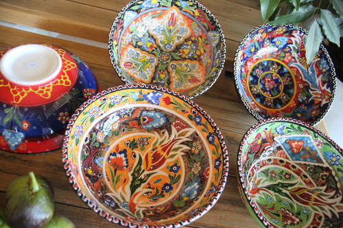 Colourful Hand painted ceramic bowls - 20cm Made in Turkey.