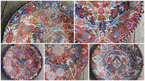 Gorgeous hand painted plates from Turkey.  Painted in the Kabartma style.  Diameter 40cm.