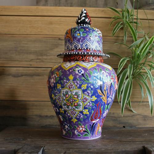 Kabartma Style Lidded Jar - Large - 28cm - #1