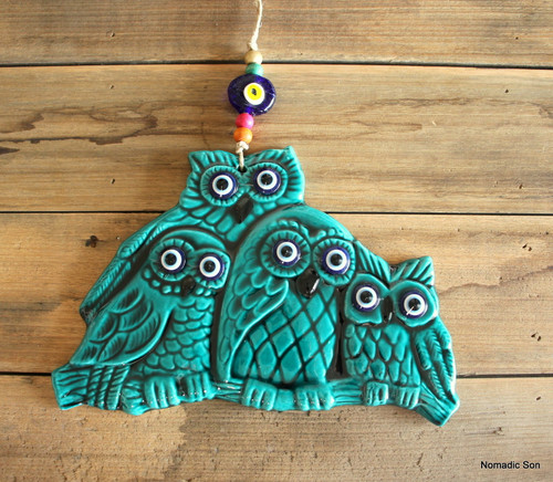 'Firuze' Wall Hanging - Family of Owls