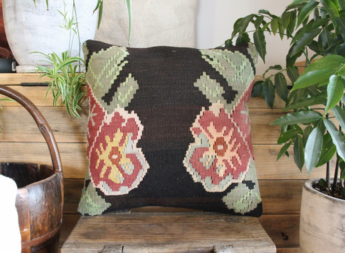 Handwoven Antique Kilim cover - (40*40cm) #2143