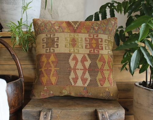Handwoven Antique Kilim cover - (40*40cm) #2172