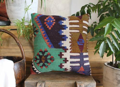 Handwoven Antique Kilim cover - (40*40cm) #2173
