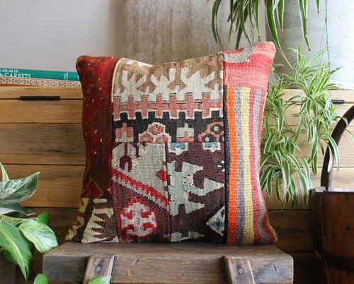 Handwoven Antique Patchwork Kilim cover - (40*40cm) #2244