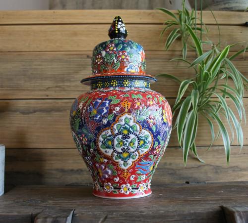 Kabartma Style Lidded Jar - Large - 28cm - #2