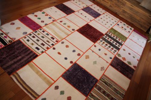 Oversized Colour Pops Natural Patchwork Kilim (#M170) 250*340cm