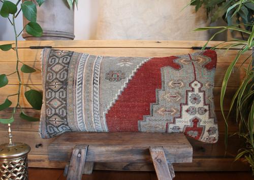 Vintage handwoven carpet cover  (30*60cm) #MR29