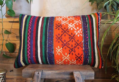 Vintage handwoven kilim cover rectangle (40*60cm) #KR226