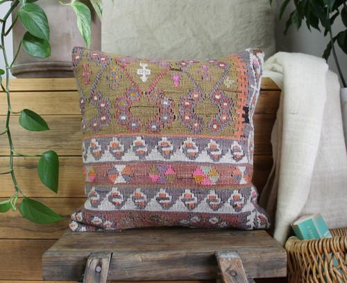 Handwoven Antique  Kilim cover - (40*40cm) #2341