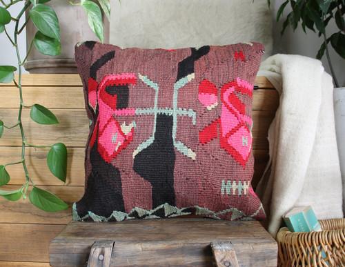 Handwoven Antique  Kilim cover - (40*40cm) #2351