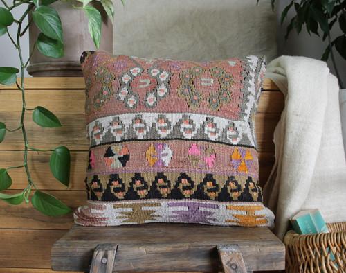 Handwoven Antique  Kilim cover - (40*40cm) #2356