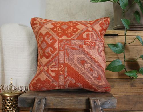 Handwoven Vintage Kilim cushion cover - (40*40cm) #594