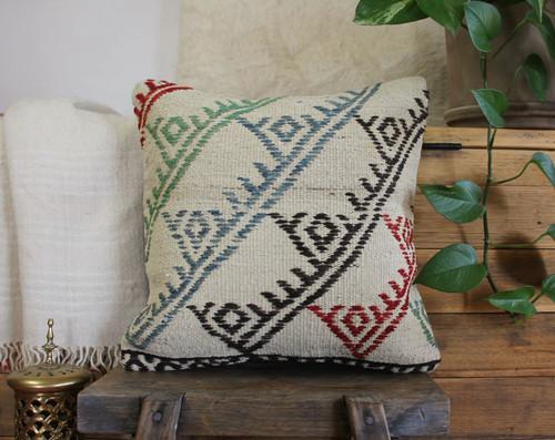 Handwoven Vintage Kilim cushion cover - (40*40cm) #608