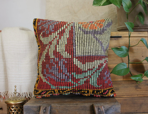 Handwoven Vintage Kilim cushion cover - (40*40cm) #617