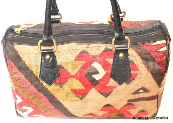 Vintage kilim and leather bowling bag #1