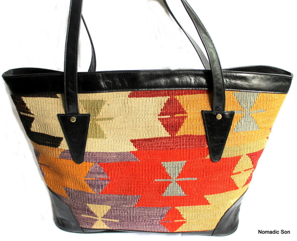 Afyon Tote - Large kilim and leather handbag