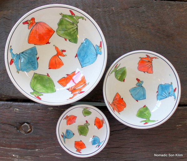 Whirling Dervish SUFI ceramic bowl - 16cm
