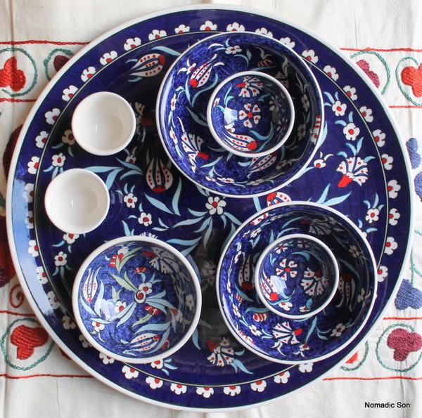 Soloman's Platter Set in Dark Blue