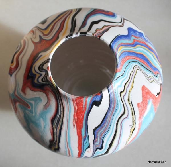 'Bahar' Marbled Ebru Vase - 12cm