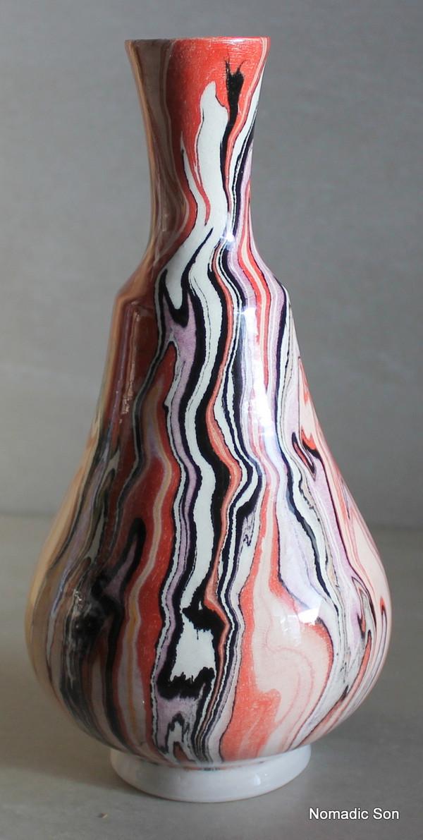 'Ghanga' Marbled Ebru Vase - 21cm