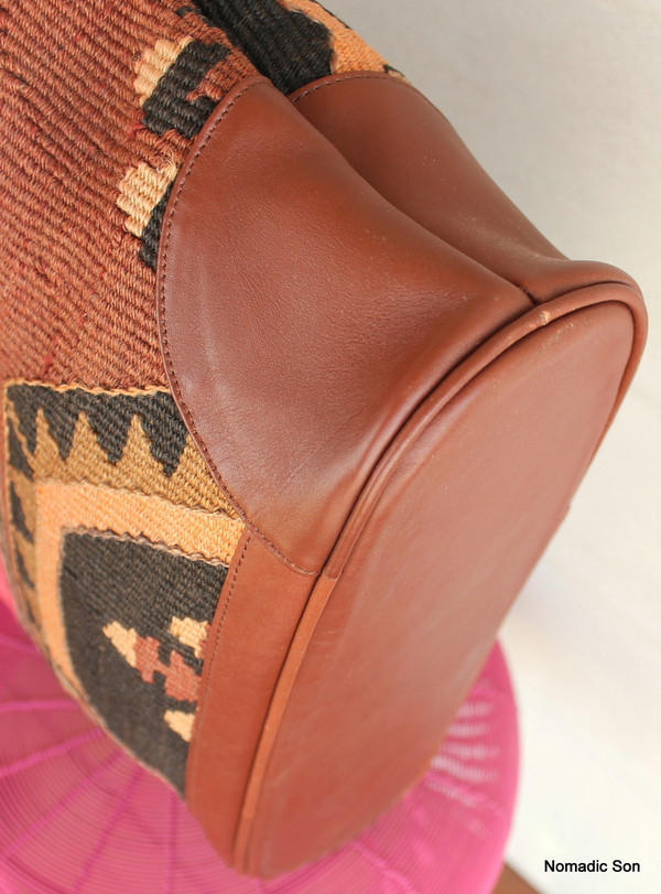'Bodrum' Tote - Large kilim and leather handbag