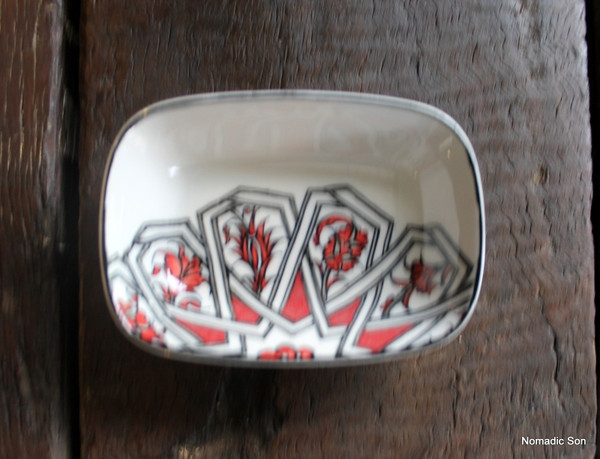 Porcelain Geometric Serving Dish Small