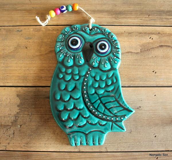 'Firuze' Wall Hanging - Large Owl