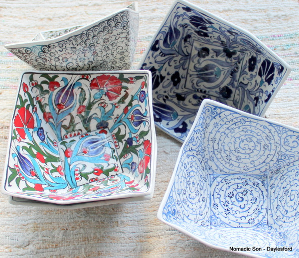 Medium cubic ceramic bowls, handmade and hand painted.