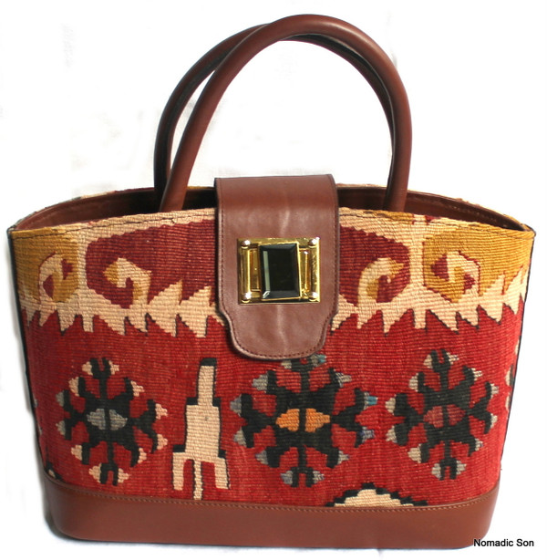 Sarkoy Handbag - vintage kilim and leather