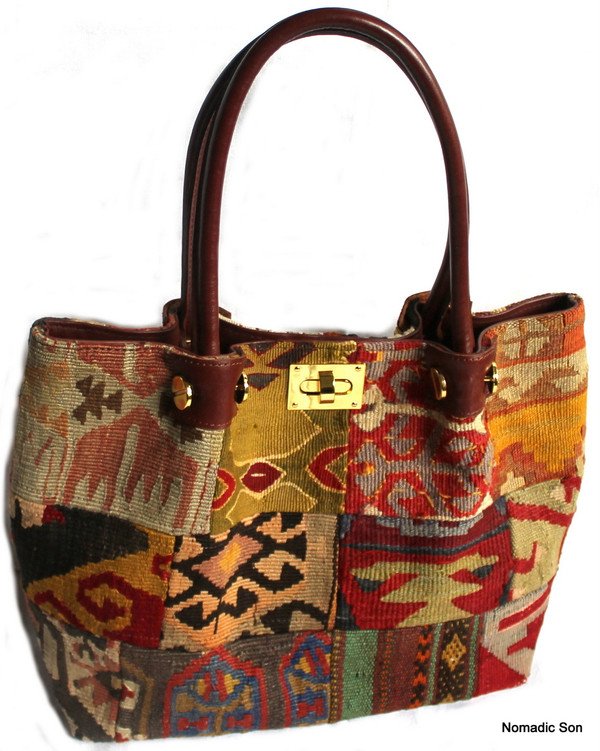 Patchwork kilim and leather clasp handbag