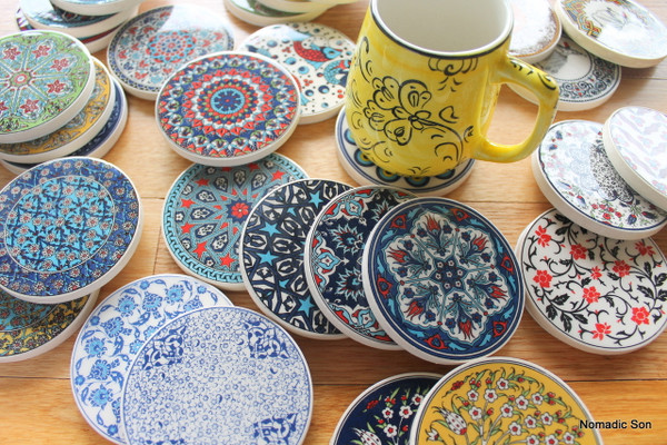 Turkish Ceramic Coasters - perfect for mix and match - traditional Ottoman floral and geometric designs. Hard wearing and beautiful.
