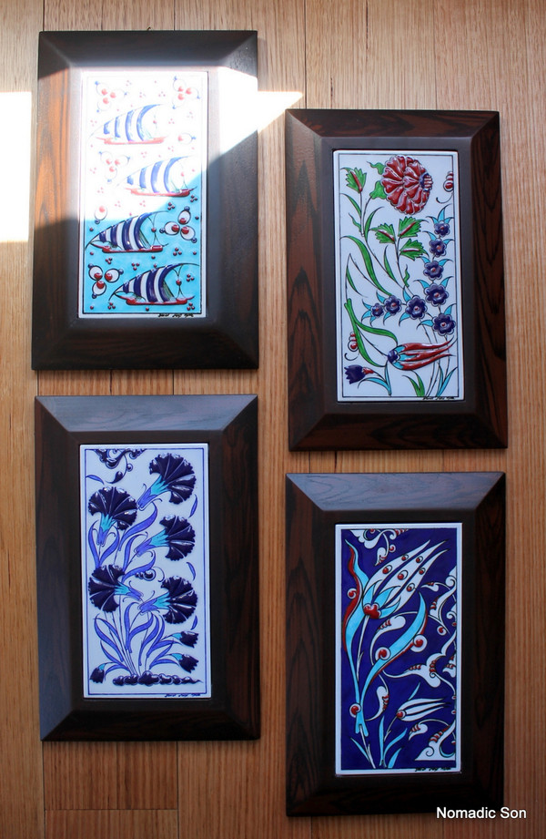 Hand painted framed tiles - large
