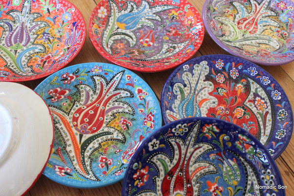 Hand painted colourful Special Kabartma hanging plates.  Made in Turkey.