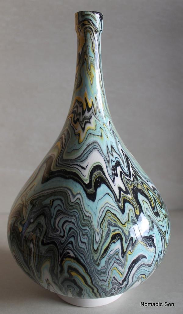 'Canli' Marbled Ebru Vase - 26cm