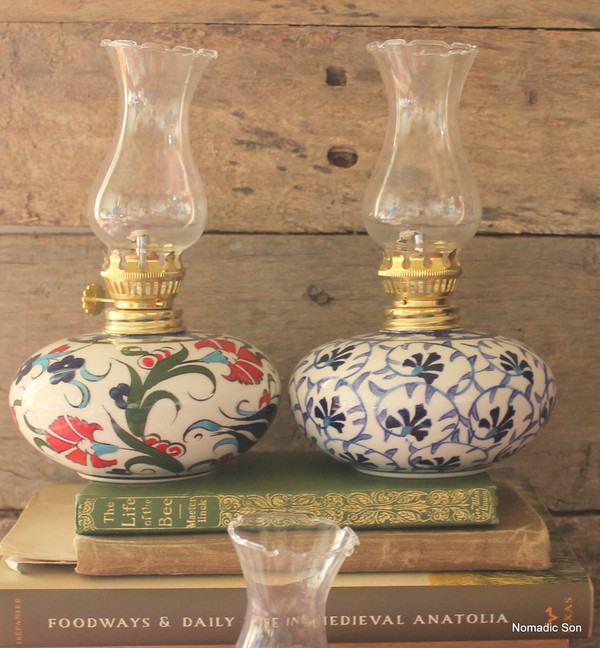 Smaller hand painted Gas Lanterns - variety of colours.  Made in Turkey.  Fully functional.