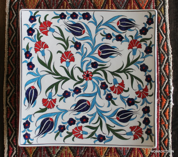 Soloman's Square Platter (Large, 30cm) - Hand painted - Food safe