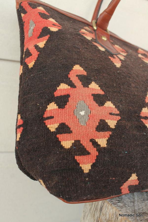 Vintage kilim and leather Handbag 'Scorpion'