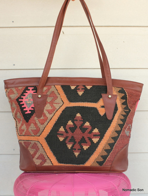 'Bodrum' Tote - Large kilim and leather handbag