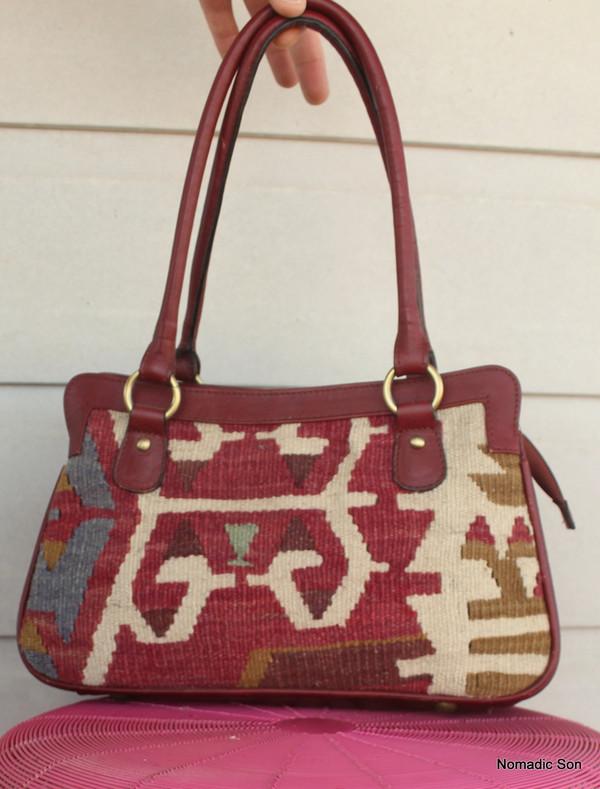 'Mercan' Kilim & leather Handbag
