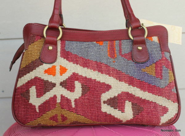 'Mercan' Kilim & leather Handbag