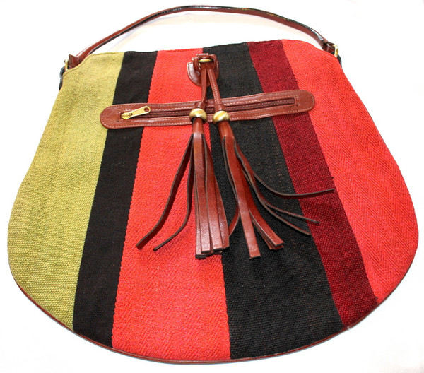 Patchwork kilim & leather saddlebag