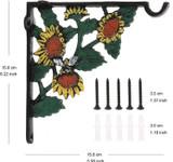 Decorative Plant Hook - Hooks for Hanging Plants - 6.2 Inch Hand Painted Sunflower Plant Hanger Hook Design